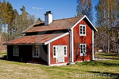 Red painted Swedish summer house.