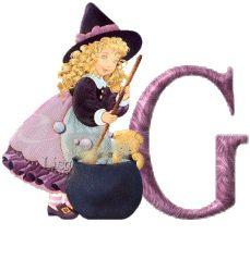 Oh my Alfabetos!: Alfabeto animado de niña brujita con caldero.