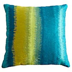 Crewelwork Striped Pillow  peacock colored pillow from pier 1  Spring 2012 on sale $27.96