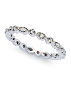 Diamond Ring, Sterling Silver Diamond Stackable Ring (1/10 ct. t.w.) - SALE & CLEARANCE - Jewelry & Watches - Macy's