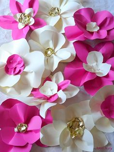 Large Paper Flowers Wedding Backdrop Arch or Wall Decor Set of 10. €100.00, via Etsy.