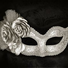Metallic Silver Masquerade Mask With Fabric Roses - Lace Covered Venetian Style Silver Masquerade Ball Mask With Flowers from SOFFITTA on Etsy. Mascarade Mask, Silver Masquerade Mask, Masquerade Ball, Masquerade Party Dresses, Silver Mask, Masquerade Costumes, Halloween Costumes, Mardi Gras, Bridal Mask