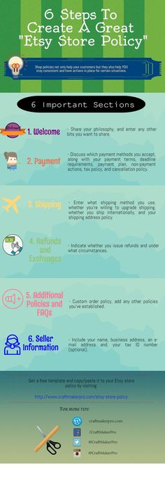 6 Steps To Create A Great Etsy Store Policy With Free Template Download!  http://www.craftmakerpro.com/business-tips/6-steps-to-create-a-great-etsy-store-policy/