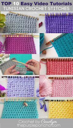 Tunisian Crochet Patterns, Crochet Stitches For Beginners, Tunisian Crochet Stitches, Crochet Videos, Crochet Basics, Knitting For Beginners, Start Knitting, Easy Knitting, Crochet Afghan Stitch