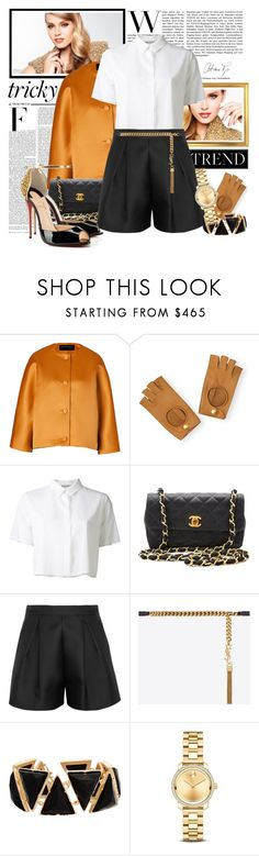 """Tricky Trend: Suit With Shorts"" by fashionicious ❤ liked on Polyvore featuring Nicki Minaj, Jonathan Saunders, Hermès, T By Alexander Wang, Chanel, Giambattista Valli, Yves Saint Laurent, Christian Louboutin, Irene Neuwirth and Movado"