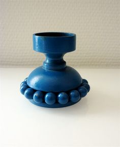 Retro Aarikka Finland Candle Holder / Blue by europeanmodern, €20.00