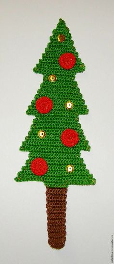 """Knitted tab for the book """"Christmas tree"""" DIY"""