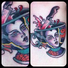 2/2 on the lovely iris :) bride of Frankenstein teacup inner calf up near the knee #tattoo #tattoos @salonserpenttattoo