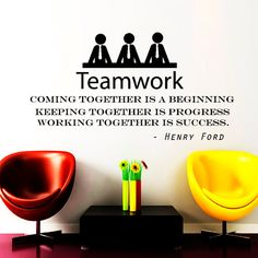 """Mauer Decals Teamwork zitieren Aufkleber Vinyl Aufkleber Henry Ford Motivation zu zitieren """"Kommen zusammen ist ein Anfang"""" Office Decor Fenster NA325"""