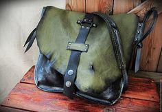 Купить Сумка кожаная ручной работы Лесная роса - комбинированный, черный, металлик