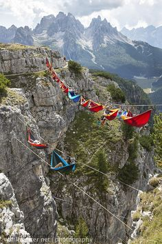 Relaxing in a sky hammock, Kicking back 164 feet above the ground feels counterintuitive, but the 22 participants who boarded 16 hammocks at The Highline Festival in Monte Piana, Italy.