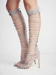 Knee High Gladiator Sandals Lace Up Suede Heels