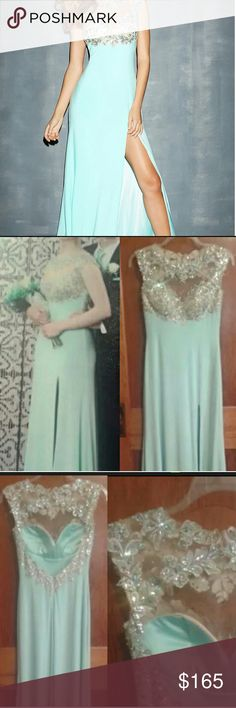 Prom Dress by Night Moves Size 6 Aquamarine Jewels Originally $438. Worn once. Must be rehemmed. In fantastic condition otherwise  Aqua jeweled backless prom dress by Night Moves. This dress has been discontinued, so it's a rare find. Says size 4, actually size 6. May fit size 8. Night Moves Dresses Backless