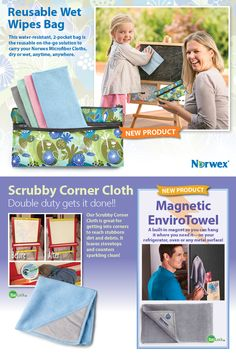 Norwex Magnetic EnviroCloth is a little longer than our EnviroCloth and made from the same extra-absorbent Norwex Microfiber.  The strong magnet makes it easy to hang on any metal surface—refrigerator, tool boxes or fitness equipment.