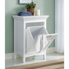 White Bathroom Laundry Storage tansel laundry storage: individual pull out wire baskets | laundry