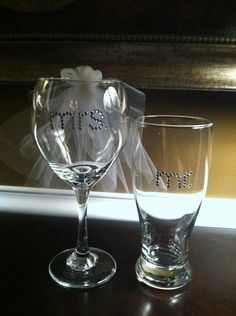 Bride Wine Glass and Groom Beer Glass Wedding Set Bachelorette Set on Etsy, $34.00