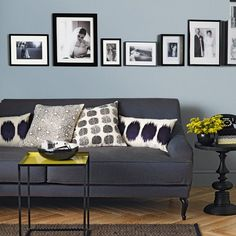 Pale blue and charcoal living room with black and white photos