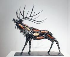 "'Wapiti IV' Recycled steel sculpture, 22"" x 16 ""x 23"" by BC artist Carl Sean McMahon"