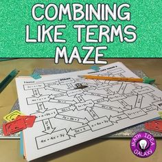 These 3 math mazes are a great way for students to get combining like terms practice. This combining like terms activity is great for differentiation, stations or centers, partner work, or homework. Algebra Activities, Math Resources, Teaching Math, Math Games, Teaching Tools, Math Expressions, Algebraic Expressions, Combining Like Terms, Dots Game
