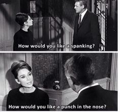 When you get a creepy OkCupid opener:. Old Hollywood feminist role models - From Charade (Hepburn and Grant) Audrey Hepburn Outfit, Audrey Hepburn Birthday, Audrey Hepburn Charade, Aubrey Hepburn, Audrey Hepburn Movies, Audrey Hepburn Quotes, Old Hollywood Movies, Classic Hollywood, Hollywood Quotes