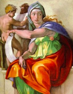 The Delphic Sibyl by Michelangelo Michelangelo Paintings, Most Famous Paintings, Famous Artists, Great Artists, Art History Timeline, Art History Major, History Memes, Sistine Chapel Ceiling, Bible