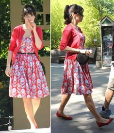 Zooey Deschanel's red printed dress and heart shaped bag on the set of New Girl