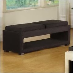 Armen Living Cancun Microfiber Double Tray Storage Bench in Black - LC6019BEMFBL - Lowest price online on all Armen Living Cancun Microfiber Double Tray Storage Bench in Black - LC6019BEMFBL