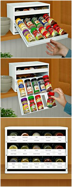 SpiceStack with universal drawers organise round and square bottles and lower to display labels at eye-level, so you can quickly find your spices while cooking.