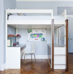 Loft Bunk Bed | Modern design in white. Desk & credenza below top bunk. DIY bedroom furniture & design ideas.  Wud Furniture Design.