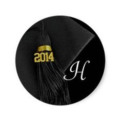 Black White Monogram Class of 2014 Graduation Round Stickers for Crafts, Favors, Envelope Seal #classof2014 #graduation #gradparty @Zazzle Inc.