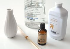 The mineral oil is used as a non-evaporating base to hold the essential oils. Start by pouring a 1/4 cup of oil into a measuring cup. Then, add 2-3 tablespoon of vodka. This won't mix naturally, so stir throughly to emulsify them. Next, add the essential oil to the mixture. Your ratio should be around 75% base to 25% essential oil. Stir thoroughly.