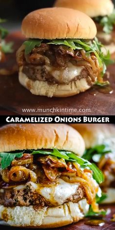 Caramelized Onions Burger Recipe – Juicy and delicious burger that will satisfy your hamburger cravings this grilling season! Grilled Burger Recipes, Turkey Burger Recipes, Gourmet Burgers, Grilling Recipes, Beef Recipes, Cooking Recipes, Juicy Burger Recipe, Lamb Burgers, Mince Recipes