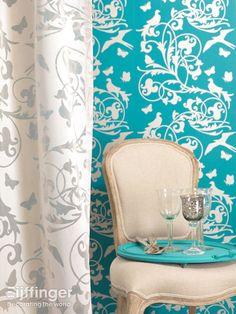 Eijffinger behang Gracia - blauw, wit - 301222. #interieur #klassiek #behang