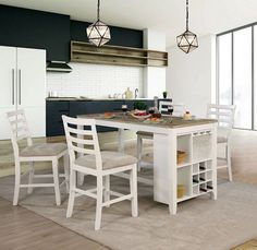 Furniture of America Martin White Weathered Oak Counter Height Dining Table - The Home Depot White Dining Room Sets, Dinning Set, Counter Height Dining Table, 5 Piece Dining Set, Dining Tables, Dining Area, Dining Chair, Dining Table With Storage, Rustic Kitchen Island