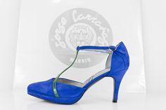 #zapato #salon #plataforma #ante #azul #detalles #charol #verde #green #blue #handcrafted #shoes #madrid #madeinspain #moda #fashion jorgelarranaga.com