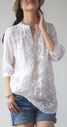 2c00d0d0e95 US 26.79 Elegant Women Solid Color Embroidered Shirts. SHOP NOW!