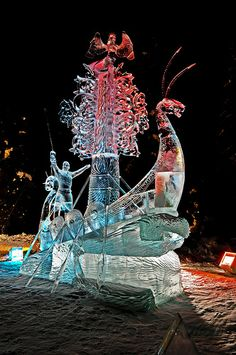 """2012 BP World Ice Art Championships. Multi Block Competition - """"The Land Calls"""" by Oleg Klavdeev & Eduard Ponomarenko from Russia.  Won 4th Place."""