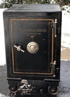 Antique Vintage Floor Safe, J. Modern Minimalist, Minimalist Design, Antique Safe, Safe Door, Vault Doors, Masculine Interior, Victorian Design, Home Safes, Secret Rooms
