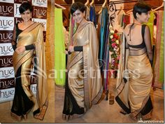 Mandira_Bedi_Black_Gold_Half_and_Half_Saree