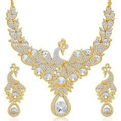 Sukkhi Exotic Peacock Gold Plated AD Necklace Set for Women