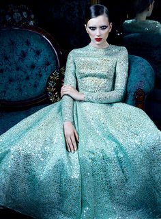 Blue sparkly Evening Gown...long sleeves & high neckline. wonder what the back looks like?