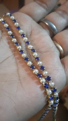 Royal blue stone with pearl 80.rs per meter