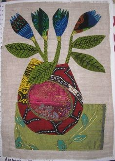 https://flic.kr/p/CrZuA | Flowers | Applique and embroidery on linen.  2006. This piece was something I made after looking at work by Constance Howard.