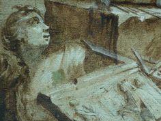 """MONNET Charles,1762 - Pygmalion amoureux de sa Statue (drawing, dessin, disegno-Louvre RF38630) - Detail 62 - TAGS/ details détail détails detalles """"dessins 18e"""" """"18th-century drawing"""" étude Study studies sketch sketches Museum couple love lovers amoureux amour sultry sensual erotism érotisme """"nu feminin"""" """"nude female"""" bare naked nue sensuelle kid kids child femme women female """"jeune femme"""" """"young woman"""" men hommes """"young man"""" """"jeune homme"""" Rideau curtain curtains bust buste statue sculpture Louvre, Sculpture, Statue, Drawing, Artwork, Painting, Dibujo, Work Of Art, Painting Art"""