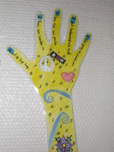 Een kind trekt zijn eigen hand over en schrijft in elke vinger een eigenschap van zichzelf. Maar dan wel een eigenschap die een ander niet zo snel zou kunnen zien. Daarna versieren in je eigen stijl.