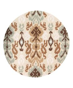 Another great find on #zulily! Beige Ikat Brentwood Round Rug #zulilyfinds