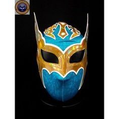 SIN CARA NEW MODEL TURQUOISE GOLD Lycra Mexican Wrestling Lucha Libre Mask Halloween Mask Costume