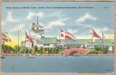 Vintage linen postcard of Swan Boats on Medial Lake at the 1939 Golden Gate Exposition held in San Francisco, California. Japanese Pavilion in the background. An 'Official Post Card' of the exposition.