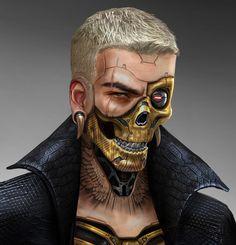 Skull Boi by Raymond Chen : ImaginaryCyberpunk Cyberpunk 2020, Cyberpunk Kunst, Character Concept, Character Art, Samurai, Handsome Anime Guys, Robot Concept Art, Robot Art, Aliens