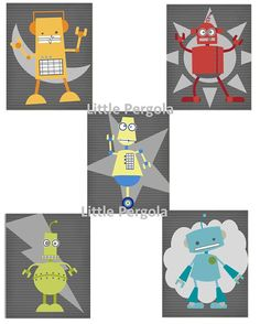 "Robot Art, Set of 5 prints for Toddler or Nursery Room Art  8""x10"" prints, Cute for Robot Themed Room"
